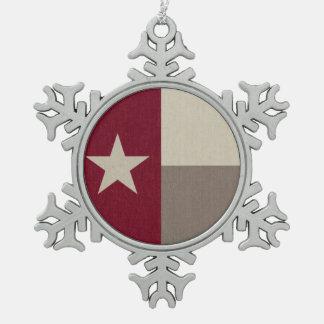 De kastanjebruine Stof van de Vlag van Texas Tin Sneeuwvlok Ornament