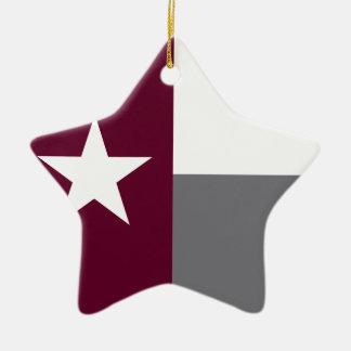 De kastanjebruine Vlag van Texas Keramisch Ster Ornament