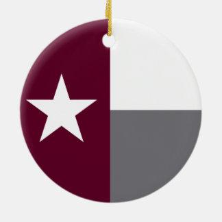 De kastanjebruine Vlag van Texas Rond Keramisch Ornament
