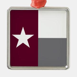 De kastanjebruine Vlag van Texas Zilverkleurig Vierkant Ornament
