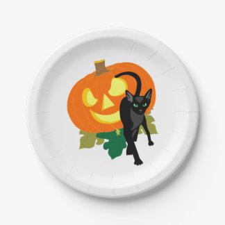 De Kat en de Pompoen van Halloween Papieren Bordje