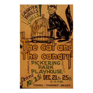 De kat en het Poster van WPA van de Kanarie