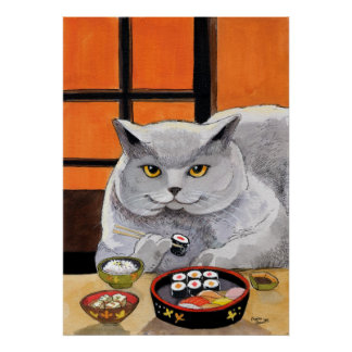 De Kat Grote Fred van sushi Poster