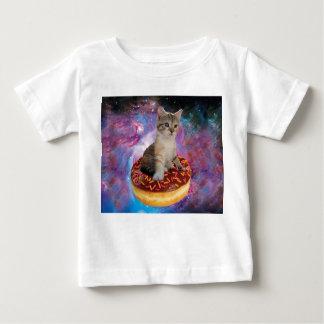 De kat-kat van de doughnut ruimte-kat-leuke baby t shirts