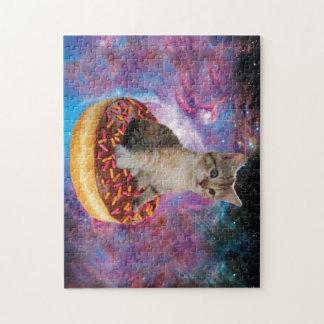 De kat-kat van de doughnut ruimte-kat-leuke puzzel