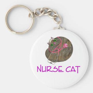 De Kat Kechain van de verpleegster Basic Ronde Button Sleutelhanger