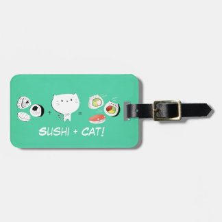 De kat plus Sushi evenaart Cuteness! Bagagelabel