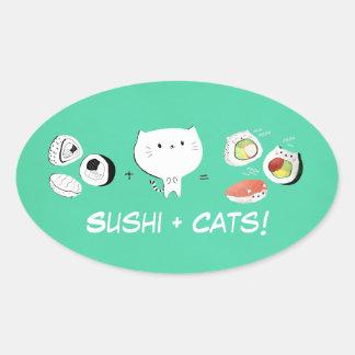 De kat plus Sushi evenaart Cuteness! Ovale Sticker