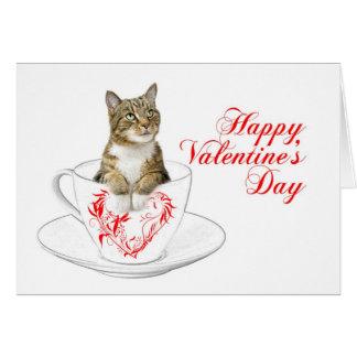 De Kat Valentijn van het theekopje Kaart