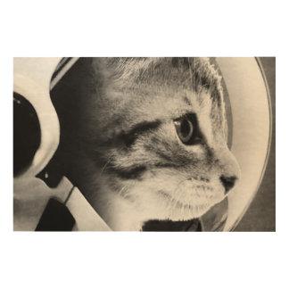 De Kat van de astronaut #3 Afdrukken Op Hout
