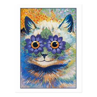 De Kat van de bloem door Louis Wain Briefkaart