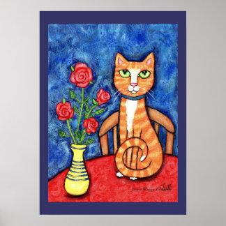 De Kat van de gestreepte kat met de Druk van de Poster
