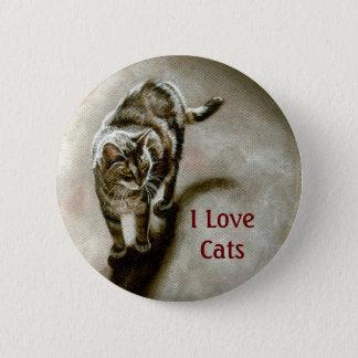 De Kat van de gestreepte kat met schaduw, houd ik Ronde Button 5,7 Cm