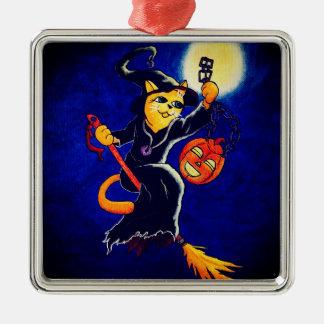 De Kat van de Heks van de nacht Zilverkleurig Vierkant Ornament