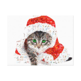 de kat van de Kerstman - kattencollage - kat - Canvas Afdrukken