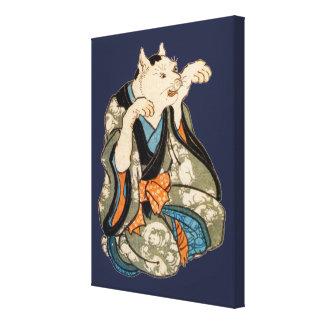 De Kat van de kimono, Utagawa Yoshifuji, ukiyo-E Canvas Afdruk