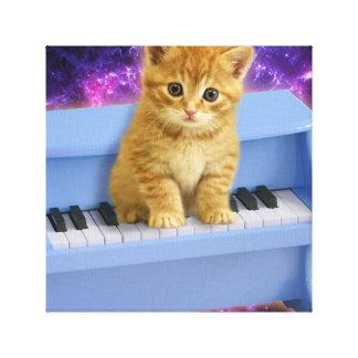 De kat van de piano canvas afdruk