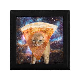 De Kat van de pizza in Ruimte die de Plak van de Vierkant Opbergdoosje Small
