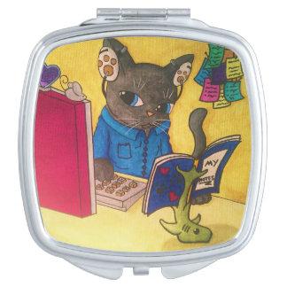 De Kat van de Schrijver van de Wasbeer van Maine Handtas Spiegeltje