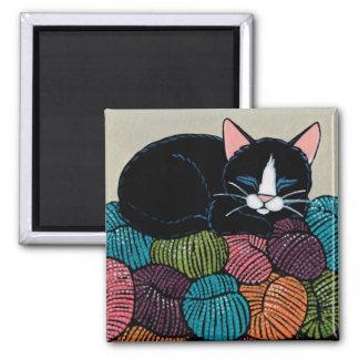 De Kat van de slaap op Berg van de Illustratie van Vierkante Magneet