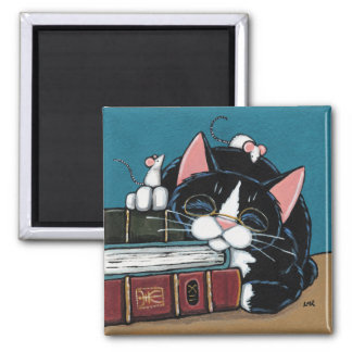 De Kat van de Smoking van de Boekenwurm van de Vierkante Magneet