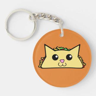 De Kat van de taco 2-Zijden Ronde Acryl Sleutelhanger