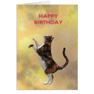 De kat van het calico en Gelukkige Verjaardag Kaart