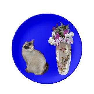 De Kat van het calico Porseleinen Bord