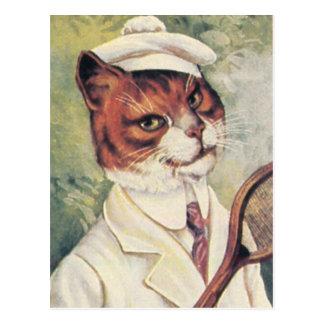 De kat van het tennis briefkaart