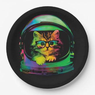 De kat van Hipster - de astronaut van de Kat - Papieren Bordje