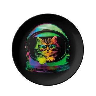 De kat van Hipster - de astronaut van de Kat - Porselein Bord