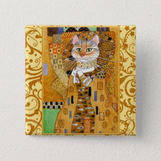 De Kat van Klimt in Gouden vierkante pinback Vierkante Button 5,1 Cm