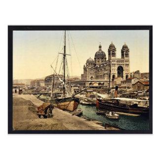 De kathedraal, Marseille, Frankrijk vintage Briefkaart