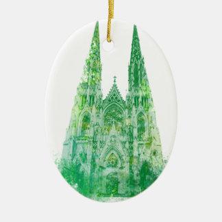 De Kathedraal New York van heilige Patrick Keramisch Ovaal Ornament