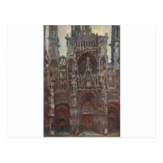 De Kathedraal van Rouen, avond, harmonie in bruin Briefkaart