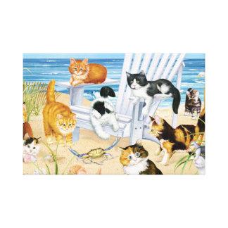 De Katjes van de Bedelaar van het strand Canvas Print