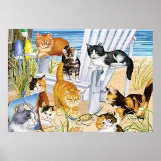 De Katjes van de Bedelaar van het strand Poster