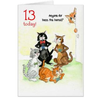 De Katten die van de pret de Verjaardag van het Briefkaarten 0