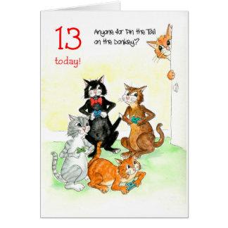 De Katten die van de pret de Verjaardag van het Kaart