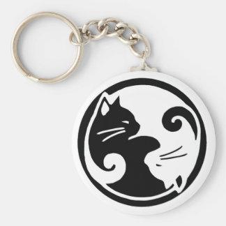 De Katten Keychain van Yang van Yin Basic Ronde Button Sleutelhanger