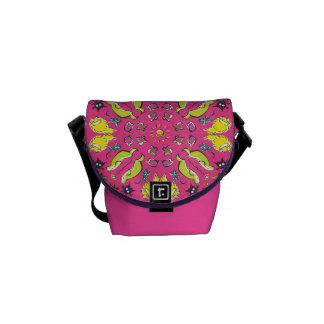 De katten Roze kleurrijke leuke symmetrie van de Messenger Bag