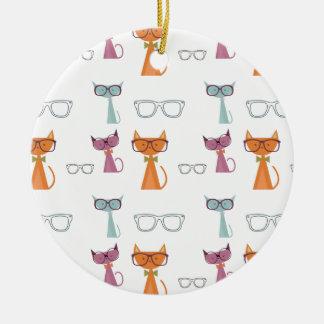 De Katten van de heup Rond Keramisch Ornament