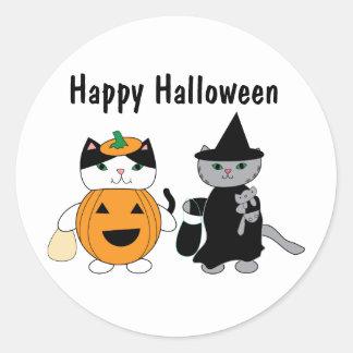 De Katten van Halloween in Kostuums Ronde Stickers