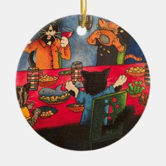 De Katten van het Feest van de nacht Rond Keramisch Ornament