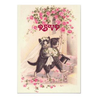 De Katten van het Huwelijk RSVP in Zachte Roze Kaart