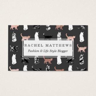 De Katten van het kat in Roze Gouden en Zwart-wit Visitekaartjes