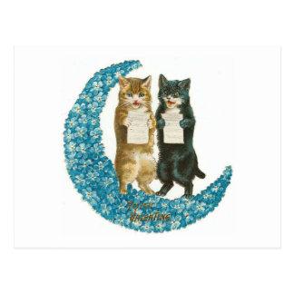 De Katten van Valentijn op een Blauwe Maan van de Briefkaart
