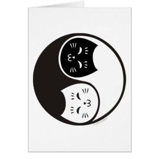 De Katten van Yang van Yin in Zwart-wit Wenskaart