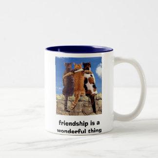 de katten, vriendschap is een prachtig ding tweekleurige koffiemok