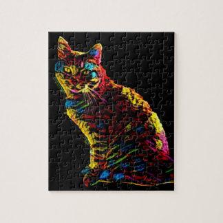 De kattenraadsel van het neon puzzel